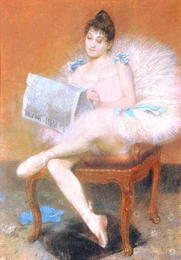 名画絵画のプリント作品販売 ピエール・カイエ=ベルーズ Pierre Carrier-BelleuseのSeated ballerina reading a newspaper. 1890 Seated ballerina reading a newspaper. 1890