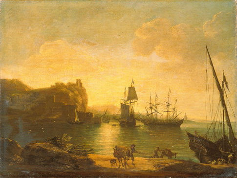 名画絵画のプリント作品販売 ガスパール・デュゲ Gaspard DughetのEvening Atmosphere in Harbour with Sailing Ships.