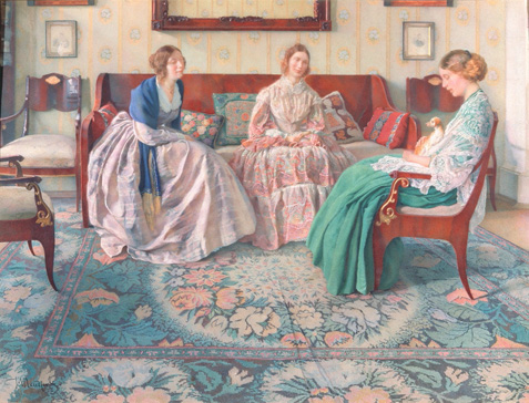 名画絵画のプリント作品販売 Nikolai Filippovich PetrovのThree ladies. 1916