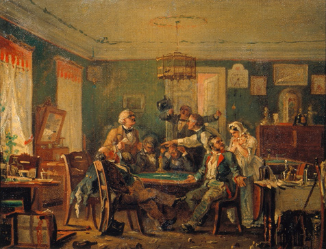 名画絵画のプリント作品販売 Nikolai Petrovich PetrovのThe card players. 1850s The card players. 1850s