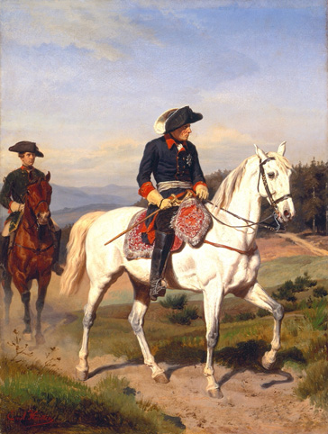 名画絵画のプリント作品販売 エーミール・ヒュンテン Johann Emil HuntenのFriedrich the Great approaching Schweidnitz. About 1865 Friedrich the Great approaching Schweidnitz. About 1865