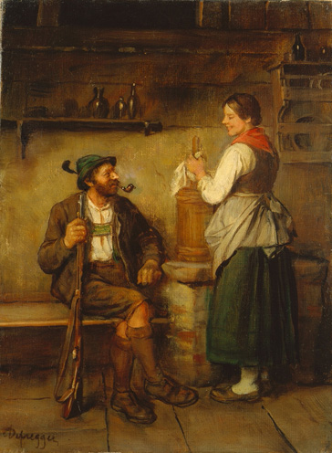 名画絵画のプリント作品販売 フランツ・デフレガー Franz DefreggerのHuntsman and maid having a chat in the kitchen. After 1850 Huntsman and maid having a chat in the kitchen. After 1850