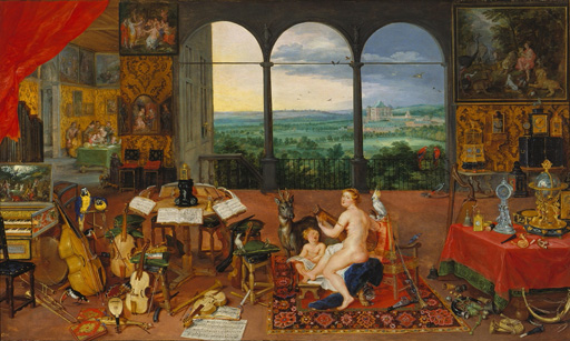名画絵画のプリント作品販売 ヤン・ブリューゲル(父) Jan Brueghel de OudeのAllegory of Hearing. (Realised with Peter Paul Rubens). 1617