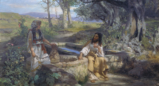 名画絵画のプリント作品販売 ヘンリク・シェミラツキ Henryk Hektor SiemiradzkiのChrist and the Samaritan woman at the well. 1890 Christ and the Samaritan woman at the well. 1890