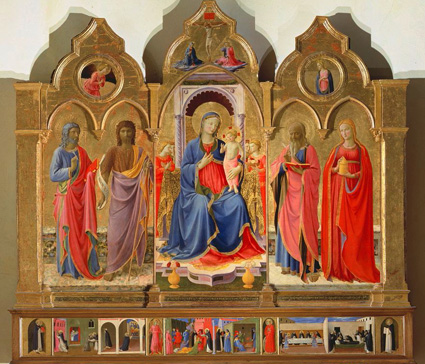 名画絵画のプリント作品販売 フラ・アンジェリコ Fra' Angelico (Beato Angelico)のVirgin and Child Enthroned with Angels and four Saints.