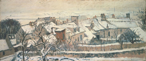 名画絵画のプリント作品販売 カミーユ・ピサロ Camille PissarroのWinter in Louveciennes (from: the four seasons). 1872.