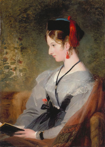 名画絵画のプリント作品販売 サー・エドウィン・ヘンリー・ランドシーア Sir Edwin Henry LandseerのPortrait of Elizabeth Wells (later Lady Dyke) wearing a grey dress and holding a book.