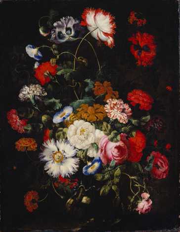 名画絵画のプリント作品販売 Jan Pieter BrueghelのFlower Still Life in a Glass Vase. Um 1660
