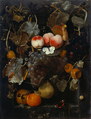 名画絵画のプリント作品販売 Adriaen van der SpeltのStill Life with Fruits, butterflies and snakes in a niche. 1662