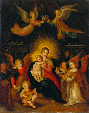 名画絵画のプリント作品販売 Cornelis de BaellieurのMadonna with Child, crowned by Angels and surrounded with Angels making Music.