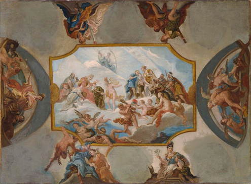 名画絵画のプリント作品販売 Antonio BellucciのHomage rendered to the Prince Elector Johann Wilhelm Palatinate. Design for A Ceiling Painting at Bensberg Castle. 1708/09