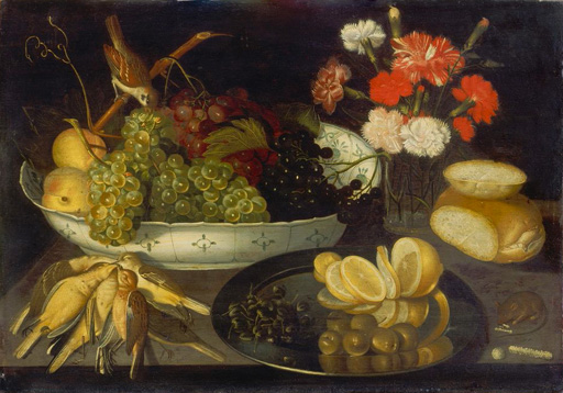 名画絵画のプリント作品販売 Francesco CodinoのFruit Still Life with dead birds and a glas vase with carnations. About 1623.