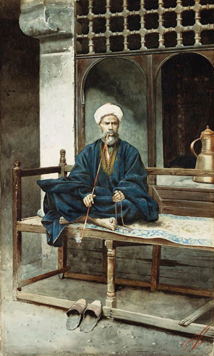 名画絵画のプリント作品販売 Giuseppe SignoriniのAn Arab, Holding Prayer Beads And Smoking A Pipe.