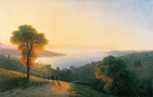 名画絵画のプリント作品販売 イヴァン・アイヴァゾフスキー Ivan Konstantinovich AivazovskyのA View of the Bosphorus from the European side above the palace of the Dolmabahce, the seraglio on the right. 1874