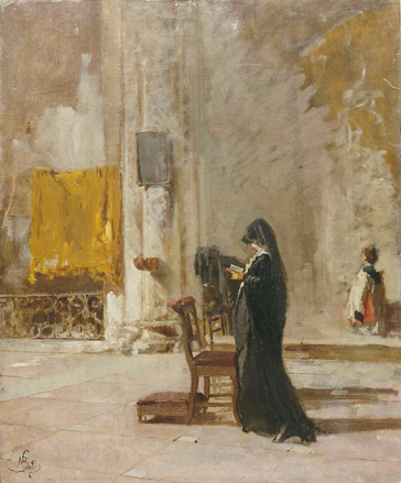 名画絵画のプリント作品販売 Mose BianchiのA Lady Praying In Church.