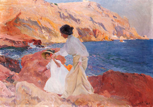 名画絵画のプリント作品販売 Joaquin SorollaのClotilde and Elena on the Rocks, Javea. 1905
