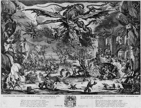 名画絵画のプリント作品販売 ジャック・カロ Jacques CallotのThe Temptation of St. Anthony (second state of five). 1635