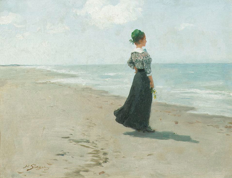 名画絵画のプリント作品販売 Hermann SeegerのLooking out to sea at Fano island, Denmark. 1913