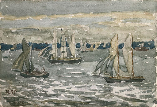 名画絵画のプリント作品販売 Maurice Brazil PrendergastのA Grey Day - Boston Harbor.