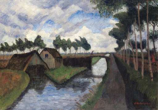名画絵画のプリント作品販売 オットー・モーダーゾーン Otto ModersohnのThe Rautendorf canal with boathouse near Worpswede. About 1927