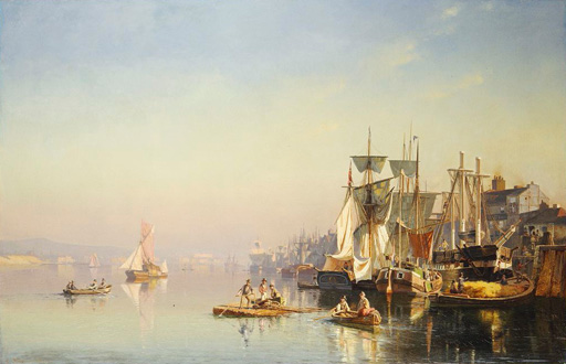 名画絵画のプリント作品販売 カール・ヌーマン Carl NeumannのFishing Boats And Barges On The Thames At Greenwich.