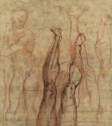 名画絵画のプリント作品販売 ミケランジェロ・ブオナローティ Michelangelo di Lodovico Buonarroti SimoniのThe Risen Christ, a three quarter length nude drawn over studies of a leg and foot.