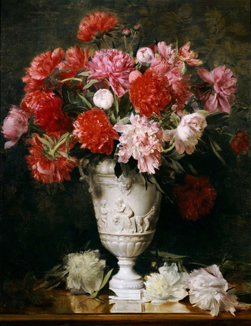 名画絵画のプリント作品販売 Gabriel SchachingerのPeonies in a Vase an a Table.