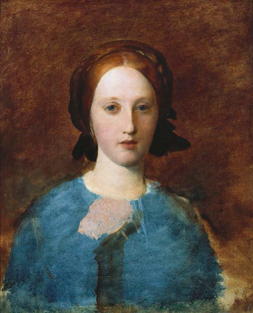 名画絵画のプリント作品販売 ジョージ・フレデリック・ワッツ George Frederick WattsのPortrait of Mrs Prescott Decie, bust length, in a blue dress - a sketch.