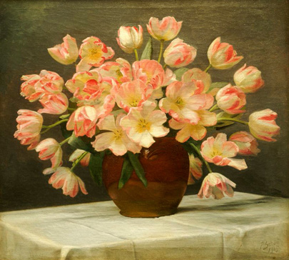 名画絵画のプリント作品販売 Peter JohanSchouのTulips in a Vase on a Draped Table. 1915
