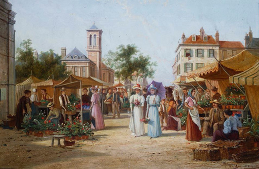 名画絵画のプリント作品販売 William Raymond DommersenのThe Market Place, Limburg, Holland.