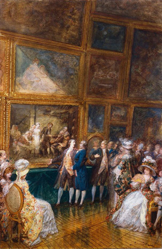 名画絵画のプリント作品販売 Joseph NavletのGreuze and Diderot visiting the Salon, 1761.