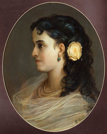 名画絵画のプリント作品販売 ギュスターヴ・ドレ Paul Gustave DoreのPortrait of Adelina Patti, Head and Shoulders (Female Portrait).