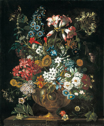 名画絵画のプリント作品販売 ピーテル(ピーター)・キャスティールズ Pieter Casteels IIIのThe twelve months of flowers. A floral Calendar of still lifes - October. 1730-31
