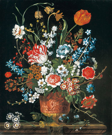 名画絵画のプリント作品販売 ピーテル(ピーター)・キャスティールズ Pieter Casteels IIIのThe twelve months of flowers. A floral Calendar of still lifes - March. 1730-31