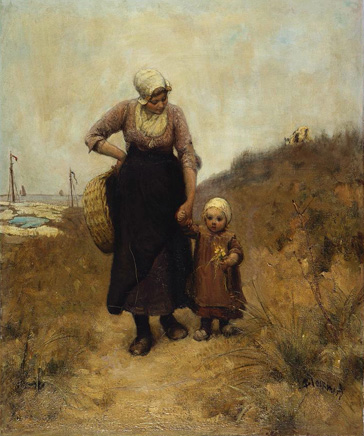 名画絵画のプリント作品販売 Bernardus Johannes (Bernard) BlommersのMother and Child on a path by the sea.