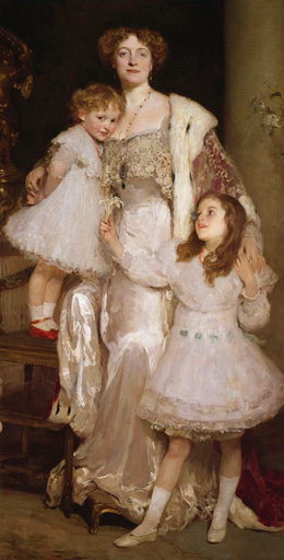 名画絵画のプリント作品販売 Joseph SolomonSolomonのPortrait of Mrs. Alfred Mond, later Lady Melchett, and her two daughters, Mary and Nora.