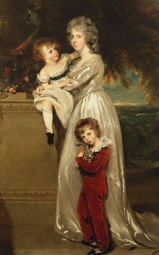 名画絵画のプリント作品販売 トーマス・ローレンス Sir Thomas LawrenceのPortrait of Mrs. Annesley standing full length, in a white dress with her two children.