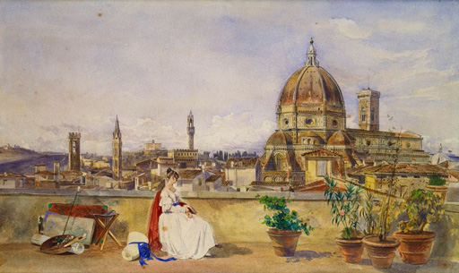名画絵画のプリント作品販売 Thomas Hartley CromekのA terrace overlooking Florence from the Via di Servi.