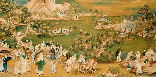 名画絵画のプリント作品販売 作者不明 (Chinese School)のA Lake Scene With Figures Celebrating a Festival. Ca. 1800