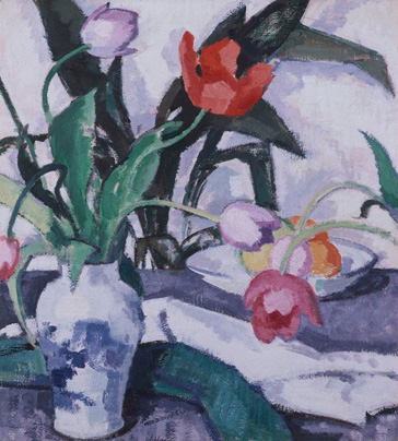 名画絵画のプリント作品販売 Samuel JohnPeploeのRed and Mauve Tulips in a Vase.