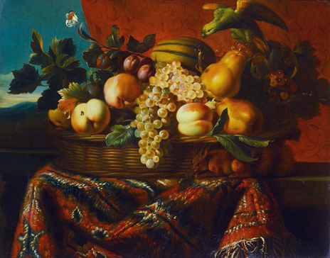 名画絵画のプリント作品販売 ピア・デュピュイ Pierre DupuisのGrapes, Peaches, Plums, Pears and a Melon in a Basket with a Parakeet, a Red Squirrel and a Butterfly and other Insects on a Draped Ledge.