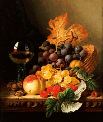 名画絵画のプリント作品販売 エドワード・ラデル Edward LadellのA Basket Of Grapes, Raspberries, A Peach And A Wine Glass On A Table.