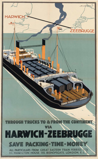 名画絵画のプリント作品販売 Henry George GawthornのHarwich-Zeebrugge. (printed by Adams Bros. and Shardlow, Ltd.)