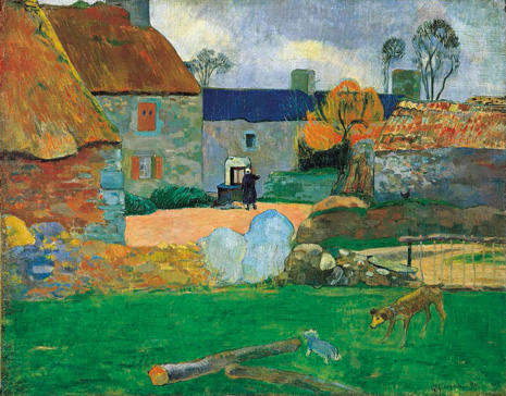 名画絵画のプリント作品販売 ポール・ゴーギャン Eugene Henri Paul GauguinのLe blue roof or the cottage at Pouldu. 1890