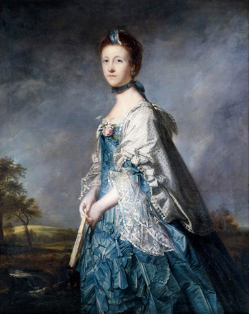 名画絵画のプリント作品販売 ジョシュア・レノルズ Sir Joshua ReynoldsのPortrait of Anne, Countess Winterton, Standing three-quarter length, Wearing a Blue Dress, and Lace-Trimmed Shawl, Holding a Fan, in a Landscape.