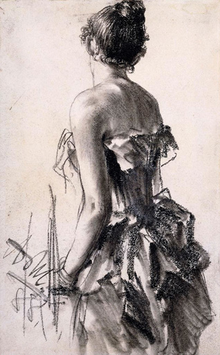 名画絵画のプリント作品販売 アドルフ・フォン・メンツェル Adolph Friedrich Erdmann von MenzelのBackview of a Woman. 1888 (The work is p robably a preparatory drawing for the central figure in Im Weissen Saal completed in the same year.)