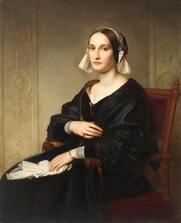 名画絵画のプリント作品販売 エドゥアルド・ベンデマン Eduard Julius Friedrich BendemannのPortrait of Lida Bendemann, maiden-name Schadow. 1847