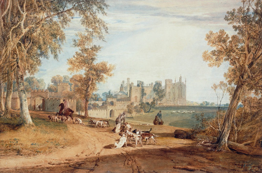 名画絵画のプリント作品販売 ジョゼフ・マロード・ウィリアム・ターナー Joseph Mallord William TurnerのThe North-West Front, Cassiobury, with Hounds and Huntsmen.