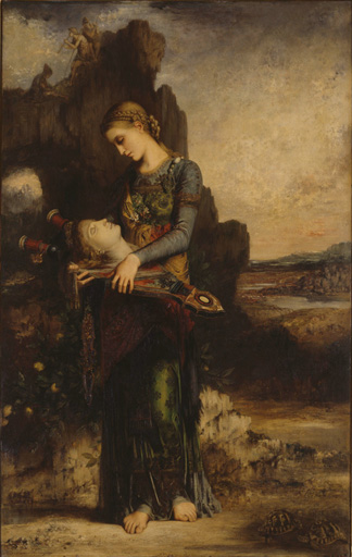 名画絵画のプリント作品販売 ギュスターヴ・モロー Gustave MoreauのThe Thracian Girl, carrying the Head of Orpheus