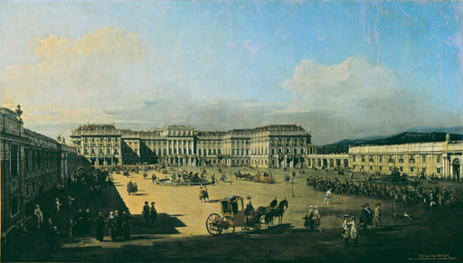 名画絵画のプリント作品販売 ベルナルド・ベッロット Bernardo Bellotto (Canaletto) and WorkshopのThe imperial pleasure palace Schoenbrunn, seen fr. th. courtyard